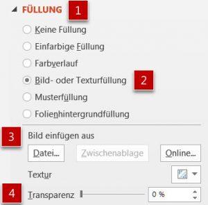 Der Aufgabenbereich Form bzw. Grafik formatieren
